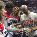 Enjoying the hospitality of NBA star Marcin Gortat during Washington Wizards' pre-season game